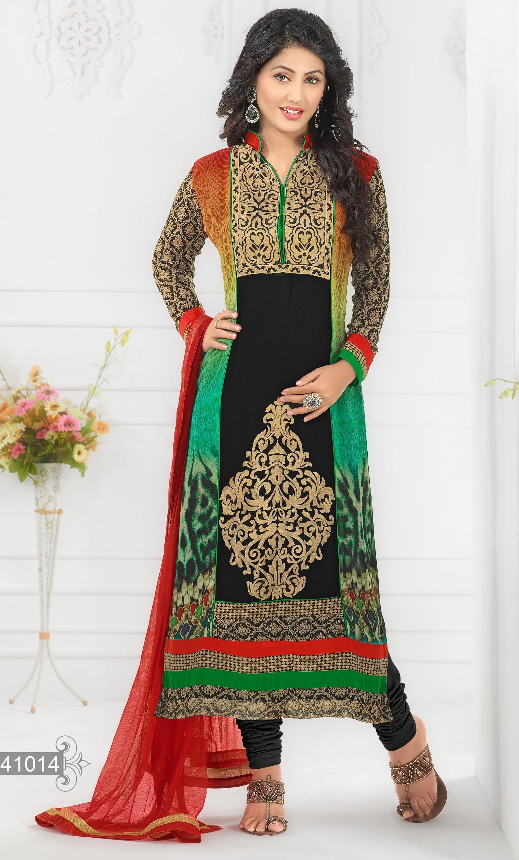 da497ebfa0 Heena Khan Designer Semi Stitched Salwar Suit | Elala