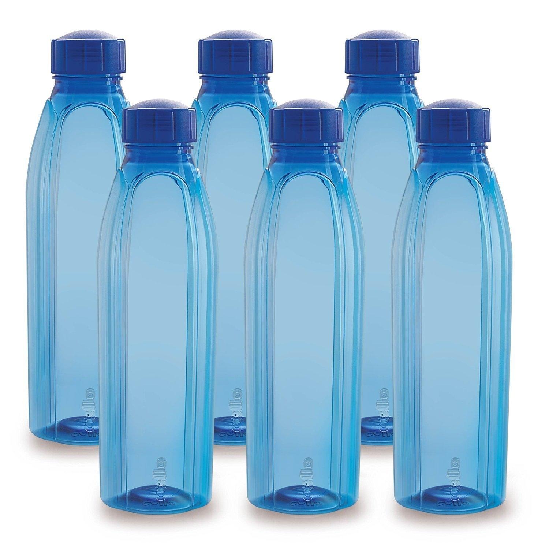 Cello Crystal Pet Bottle Set 1 Litre Set Of 6 Blue | Elala