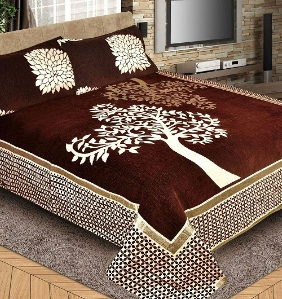 Bedsheets King Size(premium Chenille 1 Double Bedsheet With 2 Pillow Cover