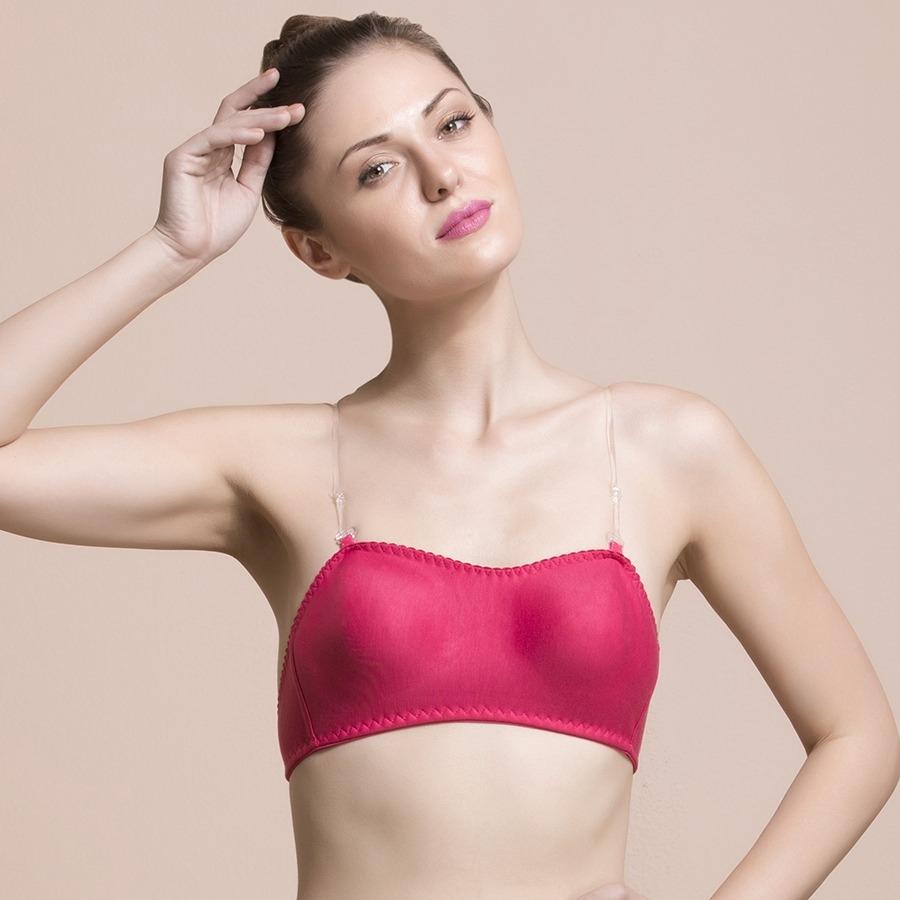 dc6267862dadc Pink Cotton Rich Tube Bra With Detachable Transparent Straps