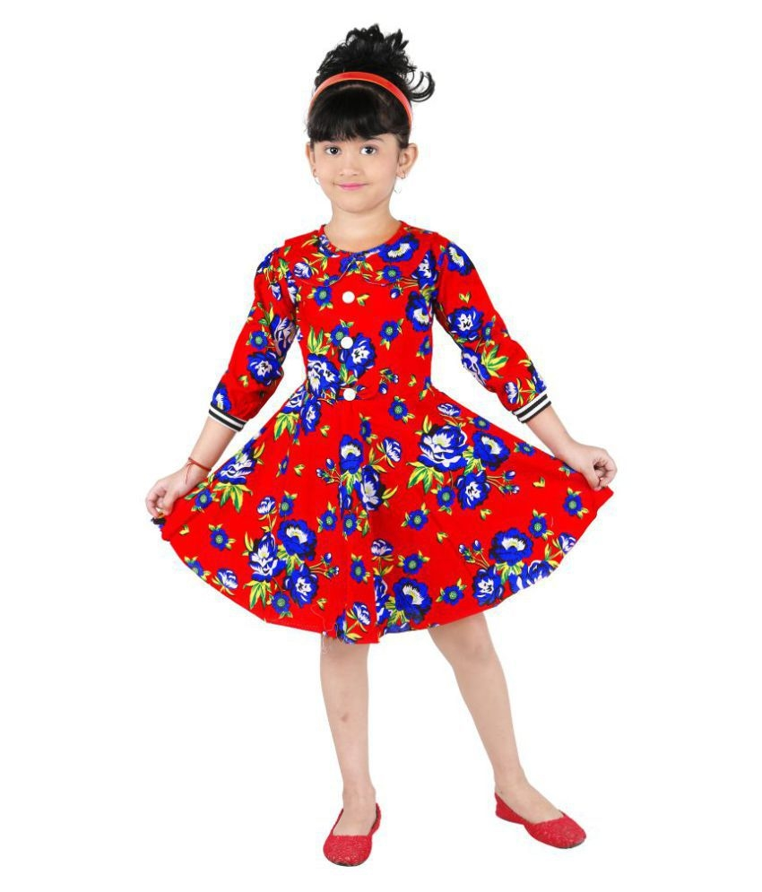 31b90ebc4 Red Cotton Printed Frock For Girls