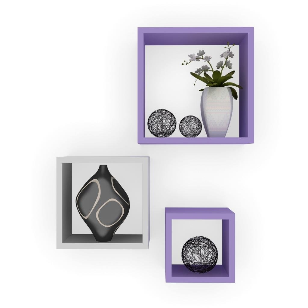 desi karigar wall mount shelves square shape set of 3 wall. Black Bedroom Furniture Sets. Home Design Ideas