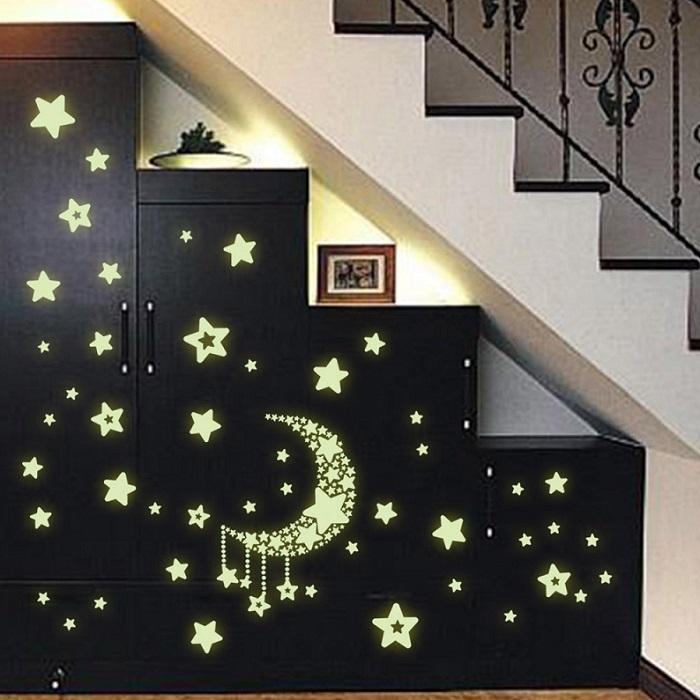 y0015 stars with moon radium/glow in the dark wall sticker jaamso