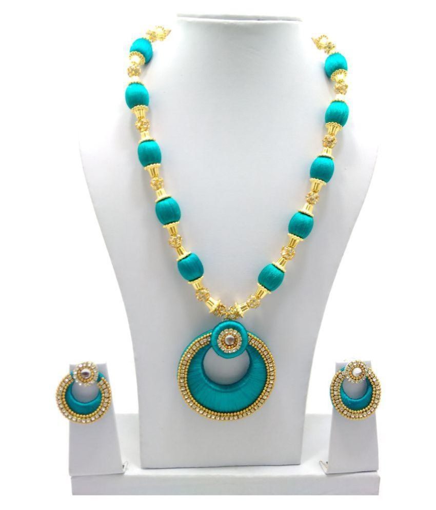 necklaces buy product silk earrings jhumkas necklace set thread full