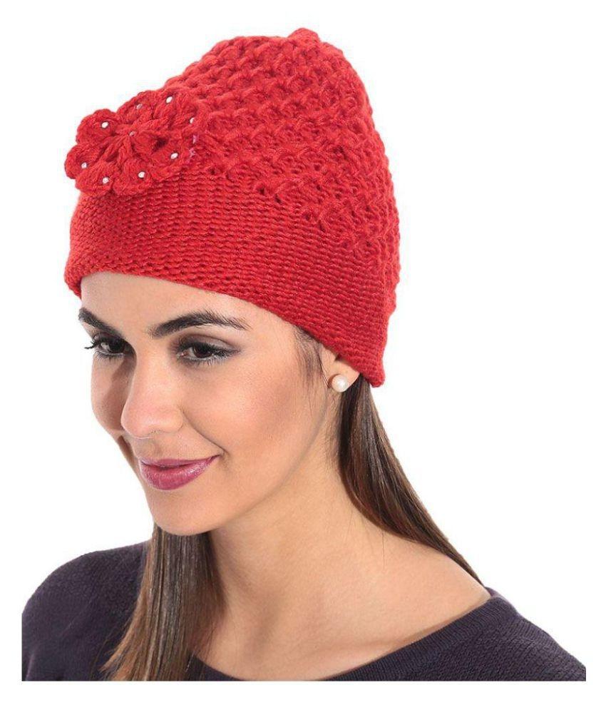 7622e37a99e Red Woolen Cap For Women