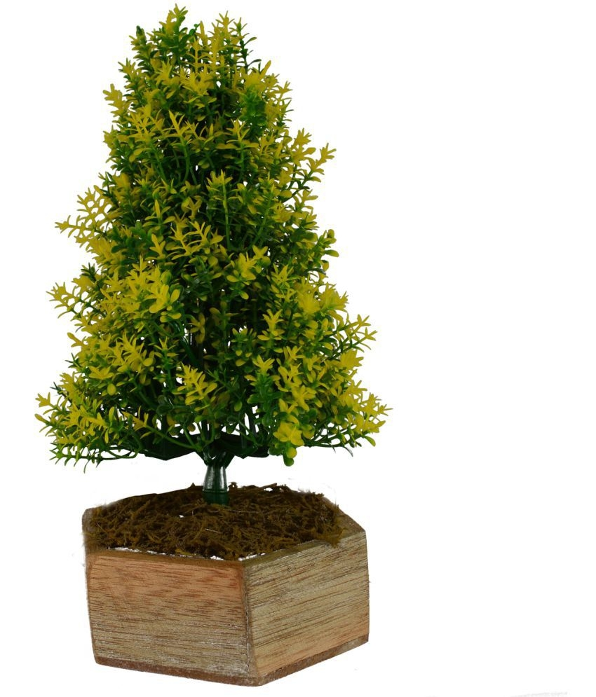 the fancy mart artificial bonsai fabric christmas tree yellow greens with pot 1 ft pack of 1