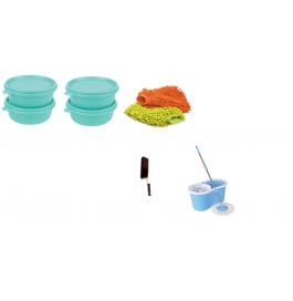 Vinayaka 4 Containers With Bestrim Mop With Free Hand Mit, Brush