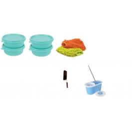 Vinayaka 4 containers with Bestrim Mop with free hand mit, brush