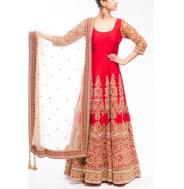 Deep Red Embroidered Anarkali Suit