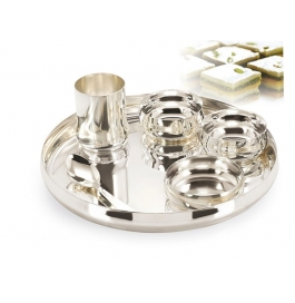 Gurukrupa Silver Plated Buffet Set - 6 Pc