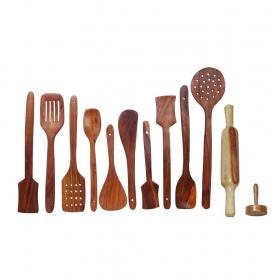 Desi Karigar Wooden Kitchen Tools Set Of 12