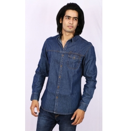 Slim Fit Denim Shirt - Blue