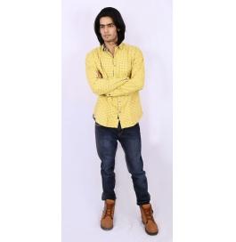 Slim Fit Printed Shirt - Yellow