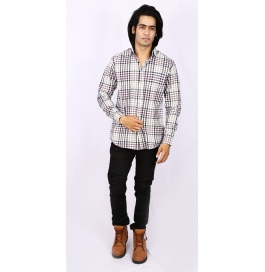 Slim Fit Checks Shirt- White