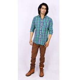 Slim Fit Checks Shirt - Green