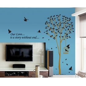Ay9055 Beautiful Tall Tree With Birds Nature Wall Sticker  Jaamso Royals