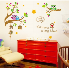 Ay9219 Falcon Birds On The Tree  Nature Wall Sticker  Jaamso Royals