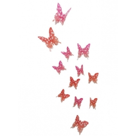 Hd-001 Dotted Light Pink And Orange  Butterfly  Wall Sticker  Jaamso Royals