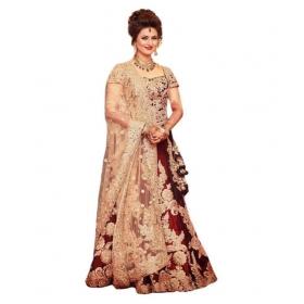 Maroon Bangalore Silk A-line Semi Stitched Lehenga