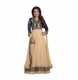 Beige And Blue Colored Georgette Suit.