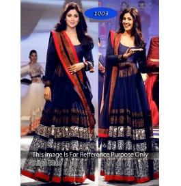Blue Multy Silk & Net Anarkali Salwar Suit