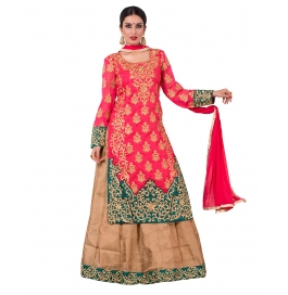Pink And Beige Colored Bhagalpuri Suit.