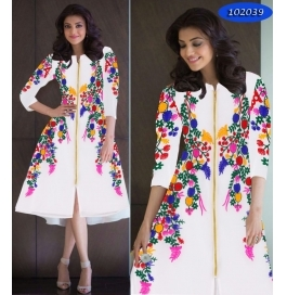 White  Embroidery Georgette Straight Western Dress