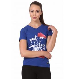 Crush Fitness Women Cotton Dancing Shoes Blue T-shirt