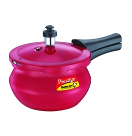 Prestige Deluxe Plus Induction Base Aluminium Pressure Handi - Red : 2 Litre