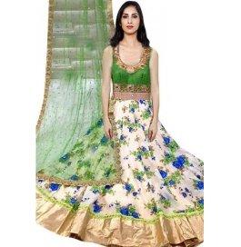 White & Green Printed Bhaglpuri Silk Anarkali Salwar Suit