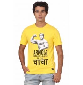 Crush Fitness Men's Cotton Arnold Yellow T-shirt