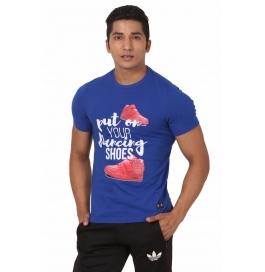 Crush Fitness Men's Cotton Dancing Shoes Blue T-shirt