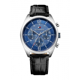 Blue Dial Leather Strap Watch (nath1791182j)