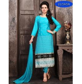 Sky Blue Embroiderd Cotton Sartin Staright Salwar Suit