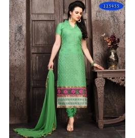 Green Embroiderd Cotton Sartin Staright Salwar Suit