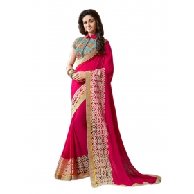 Poplin Floral Heavy Lace Work Deisgner Faux Georgette Saree