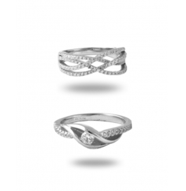 Platinum Plated Stylish Diamond Ring Combo
