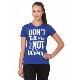 Crush Fitness Women Cotton Dont Tell Me Blue T-shirt