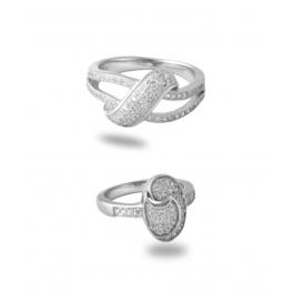 Pure Silver Base Platinum Plated Stylish Diamond Ring Combo
