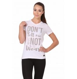 Crush Fitness Women Cotton Dont Tell Me White T-shirt