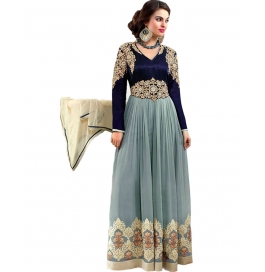 Gray Color Suit With Bottom And Dupatta