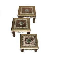 Royals Meena Wooden Chowki Chaurung Bajot Stool For Home & Office Decor For Puja (14-16-18  Inch)