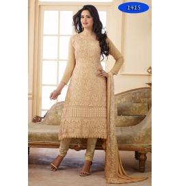 Brown Embroidered Nazneen Office Wear Straight Salwar Suit