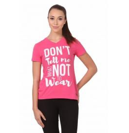 Crush Fitness Women Cotton Dont Tell Me Pink T-shirt