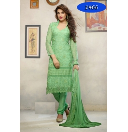 Green Embroidered Nazneen Straight Salwar Suit