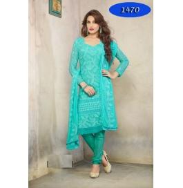 Cyan Embroidered Nazneen Straight Salwar Suit