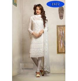 White Embroidered Nazneen Straight Salwar Suit