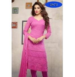 Pink Embroidered Nazneen Straight Salwar Suit