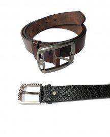 Men Formal  Genuine Leather Belt- Pack Of  2