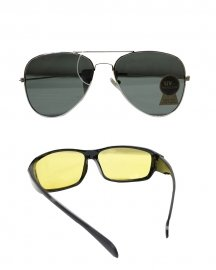 Combo Of Flat Aviator & Night Vission Sunglasses  ( Black,white)